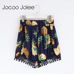 Fashion High Waist Shorts Boho Elastic Waist Floral Print