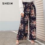 Multicolor Paperbag Waist Floral Print Wide Leg Pants