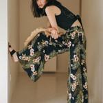 Female Floral Print Trousers High Waist Beach Streetwear