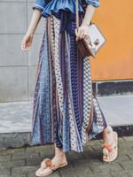 Trendy Chiffon Striped Wide Leg Pants New Ethnic Style