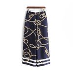 New Linen Satin Chain Pattern Pants Chic Ladies