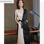 Dress Fashion Trendy Temperament Solid Splice Large Size