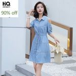 Denim Dress Fashion Elegant Off Shoulder Design Flower