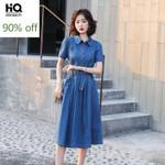 Belt Slim A-Line Denim Dresses Fashion Blue Short Sleeve