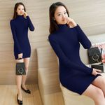 Tutleneck Bodycon Knitted Dress Pencil Dresses