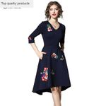 Sexy V-Neck Half Sleeves Slim Lady Blue Embroidery Floral Dresses