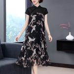 elegant Print Dress Vintage Floral Maxi Dresses