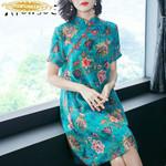 Real Silk Dress Print Floral Beach Dresses