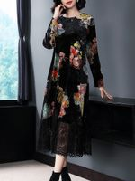 Print Floral Dress Clothes Party Dress Vintage Dress