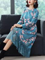 Print Floral Dress Elegant Midi Dresses Long Sleeve