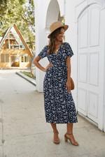 Boho Beach Dress Floral Print Wrap Dress