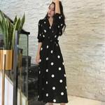 Fashion Dresses Boho Dress Polka Dot Print V Neck
