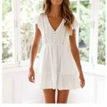 Mini Dress White Ruffle Hollow Lace Boho Dress