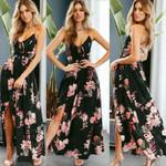 Sexy Fashion Floral  Boho Split Long Long Maxi Dress