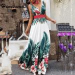 Boho Floral Printed Dresses Ladies Sleeveless Long Maxi Dress