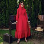 Vintage Dress Red Elegant Party Dress Long Sleeve