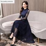 Lace Prty Dress Long Sleeve Dress Elegant Lady