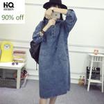 Vintage Loose Hooded Long Sleeve Denim Dress