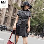 Sleeveless Dress Mesh Spliced Genuine Leather Dress