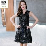 Turn Down Collar Office Ladies Slim Fit Genuine Leather Dress