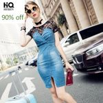 Lace Patchwork Fake Piece Denim Dresses