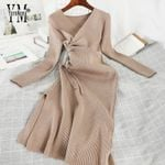 Knitted New Long Sleeve V-neck Ruched Office Dress