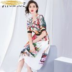 Real Silk DressFashion Print Midi Dress