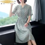 Real Silk Dress Fashion Midi Dress Beach Dress