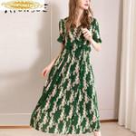 Real Silk Dress Vintage Dress Midi Beach Dress