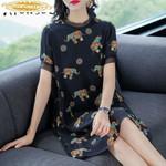 Real Silk Dress Office Lady Print Midi Dress