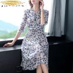 Real Silk Dress Office Dresses Fashion Midi Dress