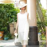 Vintage Embroidery Midi Beach Dress White Elegant