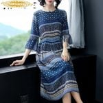 Real Silk Vintage Dresses Print Midi Party Dress