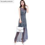 Elegant Flower Maxi Lace Dress Vestido Backless Dress