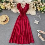 Sexy Backless Elegant V Neck High Waist Female Dress