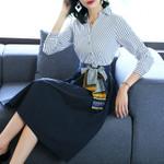 Fashion V-Neck Shirt Casual Stripe Patchwork A-line Dresses