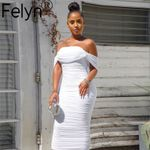 White Off Shoulder Ruched Pleated odycon Midi Dress