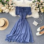 High Waist Hip Pleat Design Slash Neck Off Shoulder Dress