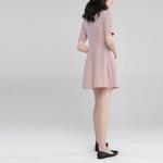Short Sleeve Turndown Blazer Dress Double Breasted