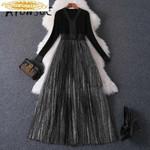Black Dress Vintage Sweater Dress Elegant Robe