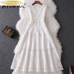 Vintage Lace Party Dress Elegant Vestidos Robe
