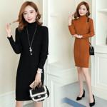 Elegant Knitted Midi Female Long Sleeve Sweater Dress