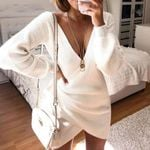 V Neck Tunic White Sweater Long Sleeve Lace Up Dress