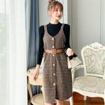 Sweater wool Knee-Length Dresses With belt Dress
