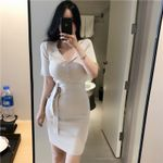 Sexy Casual Knit Sheath Mini Dresses Ladies Solid