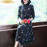 Silk Elegant Floral Boho Shirt Ladies Dresses