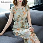 Long Print Floral Plus Size Real Silk Green Dresses