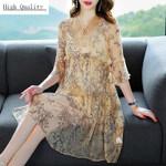 Party Elegant Silk Mini Print Floral Maxi Dresses