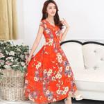 Bohemia clothing Chiffon beach clothing flower print dresses