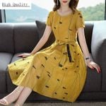 Party Linen Print Slim Long Dress Maxi Dresses